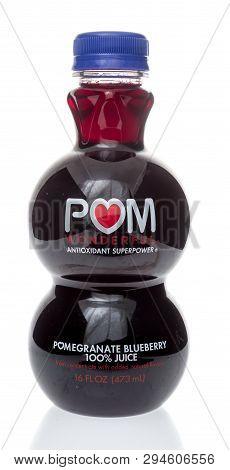 Winneconne, Wi -  3 April 2019: A Bottle Of Pom Wonderful Antioxident Superpower Pomegranate Blueber