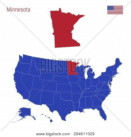 The State Of Minnesota Is Highlighted In Red. Blue Vector Map Of The United States Divided Into Sepa