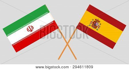 Iran And Spain. The Iranian And Spanish Flags. Official Colors. Correct Proportion. Vector Illustrat