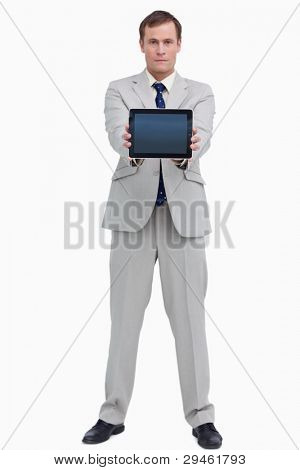Businessman showing screen of his tablet computer against a white background