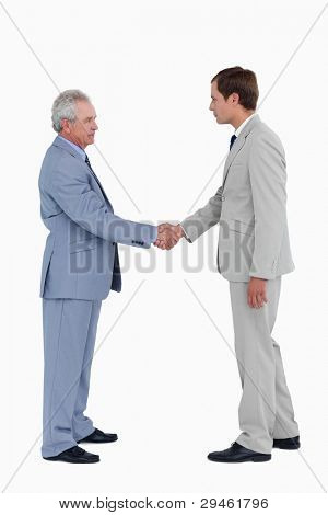 Side view of tradesmen greeting against a white background