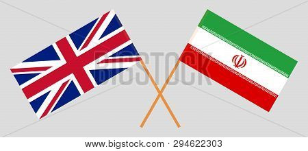 Iran and UK. The Iranian and British flags. Official colors. Correct proportion. Vector illustration poster