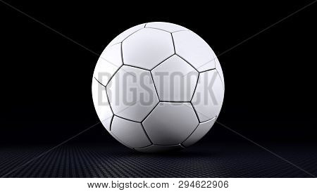 Soccer Ball In Black Background 3d Render Illustration