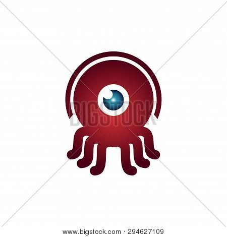 Red Octopus Squid One Eye Monocular Cute Monster Mascot