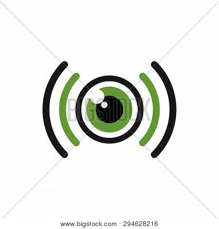 Green Signal Monocular One Eye Technology Logo Symbol