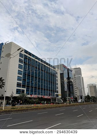 Jakarta, Indonesia - February 16, 2019: Cityscape Of Thamrin District.