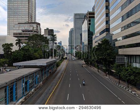 Jakarta, Indonesia - February 16, 2019: Cityscape Of Jalan Thamrin (thamrin Street).