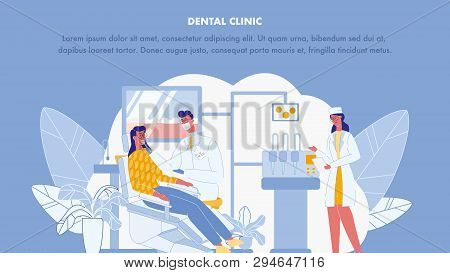 Dental Clinic Color Vector Web Banner Template. Stomatology Poster. Assistant, Practicant. Dentist A