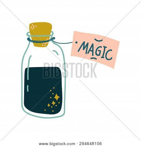 Potion Bottle, Glass Transparent Flask With Black Magic Liquid, Witchcraft Attribute Vector Illustra