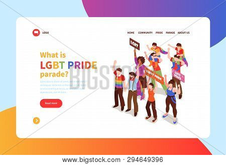 Isometric Concept Banner With People Taking Part In Homosexual Pride Parade 3d Vector Illustration
