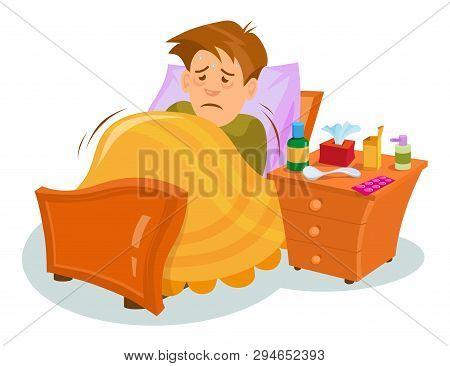 Flu Sickness. Sick Person Having Cold. Ill Man Headache. Medicine For The Disease. Flu Illness Perso