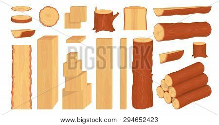 Set Of Wood Logs, Trunks, Stump And Planks. Forestry. Firewood Logs. Tree Wood Trunk. Wood Bark And