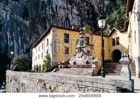 Covadonga, Spain - March 31, 2019: Monastery Of Covadonga. The Sanctuary Of Covandonga Is A Monument