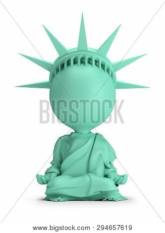 3d Small People - Meditating Statue Of Liberty. 3d Image. White Background.