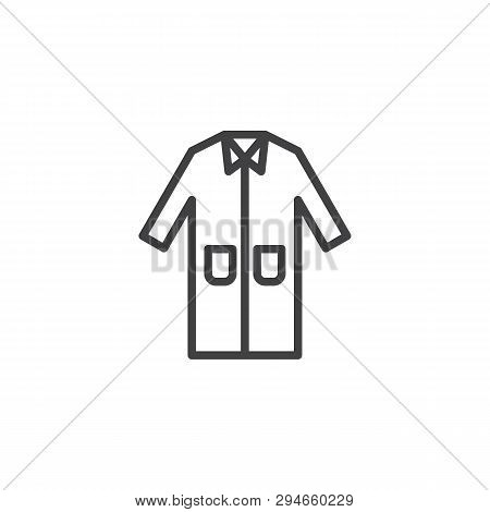 Laboratory Coat Line Icon. Protection Wear Linear Style Sign For Mobile Concept And Web Design. Medi