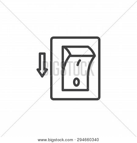 Electric Switch Line Icon. Power Off Linear Style Sign For Mobile Concept And Web Design. Toggle Swi