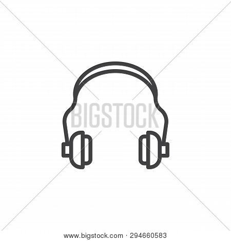 Hearing Protection Line Icon. Ear Muffs Linear Style Sign For Mobile Concept And Web Design. Ear Saf
