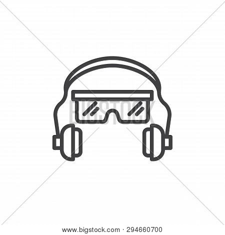Ear And Eye Protection Line Icon. Safety Glasses And Earphones Linear Style Sign For Mobile Concept