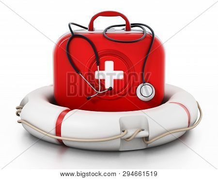 First Aid Kit Standing On Life Saver. 3d Illustration.