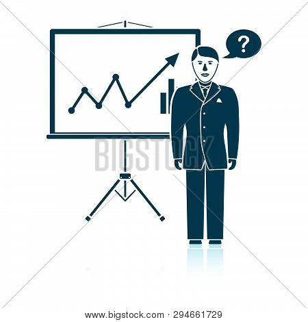 Clerk Near Analytics Stand Icon. Shadow Reflection Design. Vector Illustration.