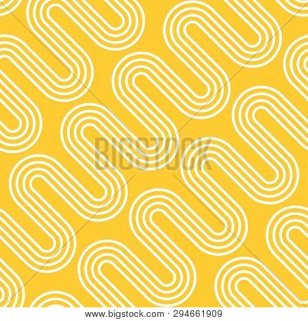 Abstract Illustration Of Electric Radiant Heating. White Waves On Yellow Background. Vector Seamless