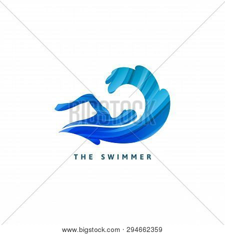 Vector Silhouette Of Swimmer And Big Wave. Minimalist Design Concept For Swimming Pools Logo