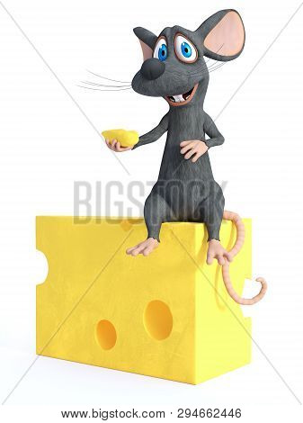 3d Rendering Of A Cute Smiling Cartoon Mouse Holding A Small Piece Of Cheese While Sitting On A Big