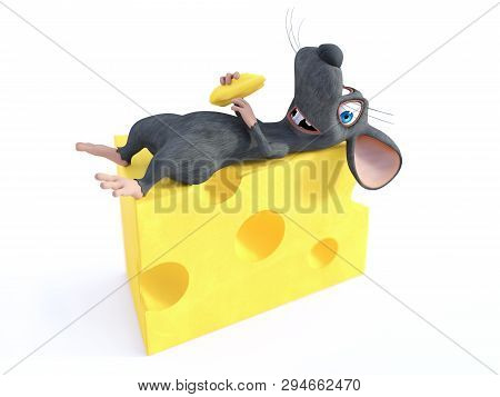 3d Rendering Of A Cute Smiling Cartoon Mouse Holding A Small Piece Of Cheese While Resting On A Big
