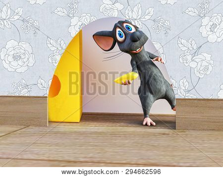 3d Rendering Of A Cute Smiling Cartoon Mouse Holding A Small Piece Of Cheese While Looking Out From