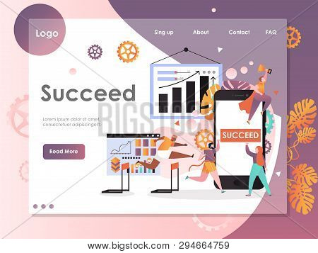 Succeed Vector Website Landing Page Design Template