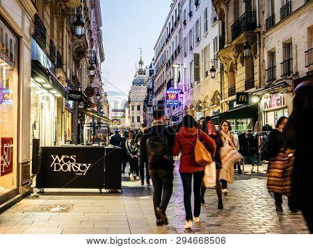Paris, France - Mar 19, 2019: Pedestrians Walking On The Iconic Pedestrian Rue De Caumartin Street A