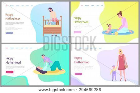 Motherhood Set, Sleeping Newborn In Baby Bed, Mother Playing With Daughter On Floor, Mom And Kid Sit