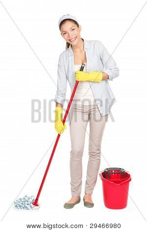 Cleaning Woman Washing Floor Mop