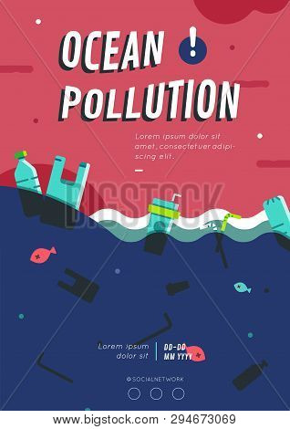 Ocean Plastic Waste Pollution With Dead Animal Poster Layout