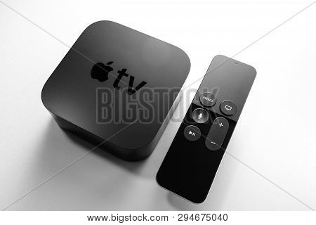 Paris, France - Nov 16, 2018: View From Above At New Black Apple Tv 4k Media Streaming By Apple Comp