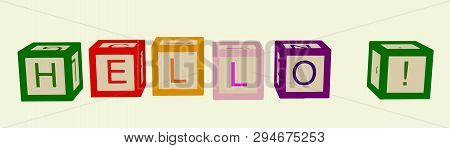 Kids Color Cubes With Letters. Hallo. Vector.