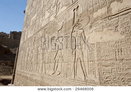 Hieroglypic carvings on wall at the ancient egyptian temple of Khnum in Esna poster