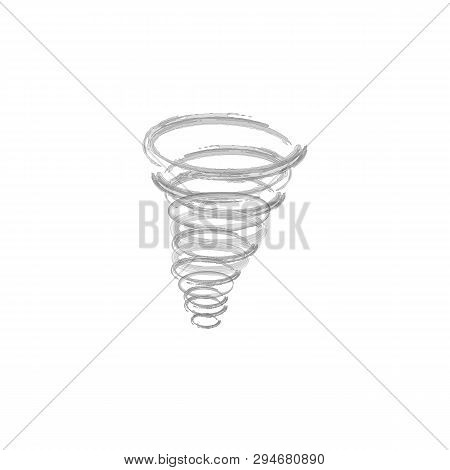 Tornado Vector. Transparent Storm Twister. Swirl Tornado Air Effect. Tornado Symbol Isolated On Yell