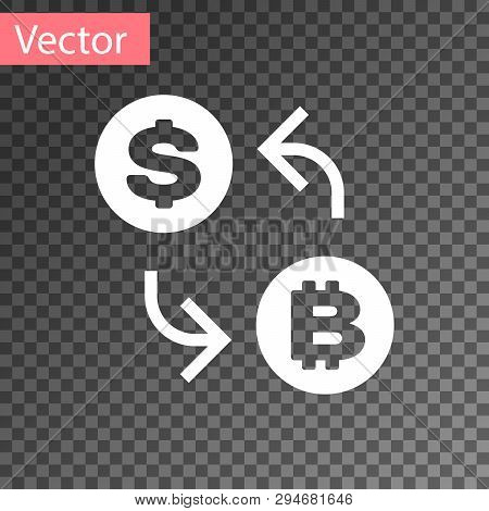 White Cryptocurrency Exchange Icon Isolated On Transparent Background. Bitcoin To Dollar Exchange Ic
