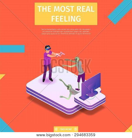 The Most Real Feeling Square Banner. Virtual Reality Composition. Man In Headset And Goggles Immersi
