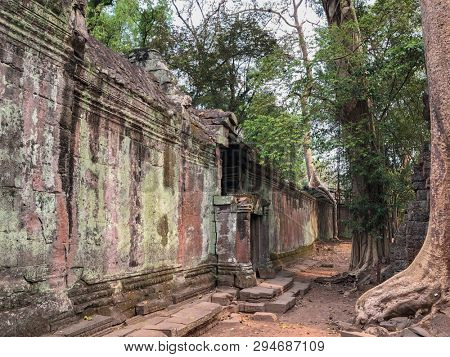 Angkor Cambodia ancient Temple ruins, great wall background texture