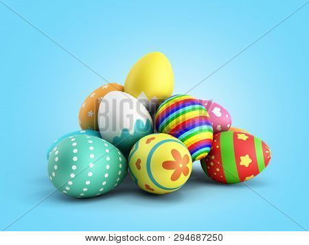 Perfect Colorful Handmade Easter Eggs 3d Render On A Blue Gradient