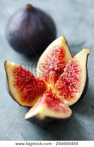 Fresh fig cut open