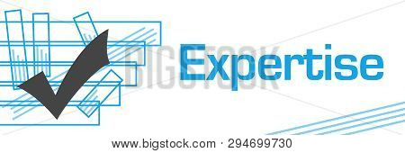 Expertise Text Written Over Blue Background With Tick Mark.
