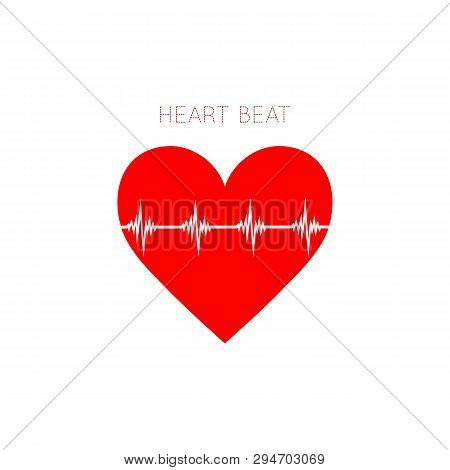 Heart Beat Icon In Flat Style. Ekg Symbol For Your Web Site Design, Logo, App, Ui Vector