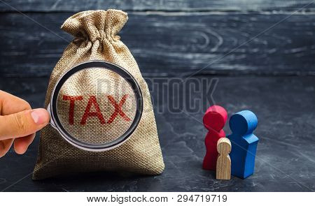A bag with the word Tax and family. Taxes on real estate, payment. Penalty, arrears. Register of taxpayers for property. Law-abiding, evasion of payment. Court law. Luxury tax. poster