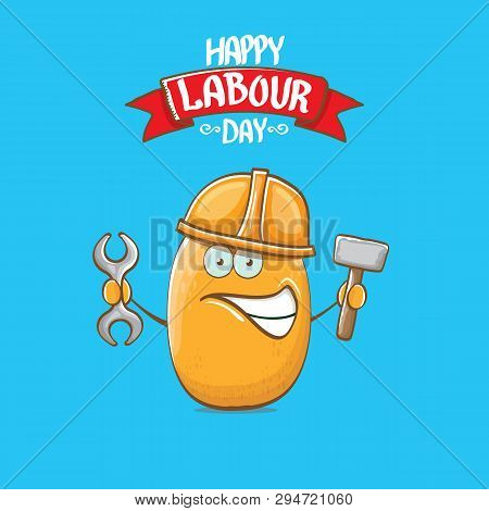 International Workers Day Or Labour Day Greeting Card . Vector Funny Cartoon Brown Smiling Worker Po