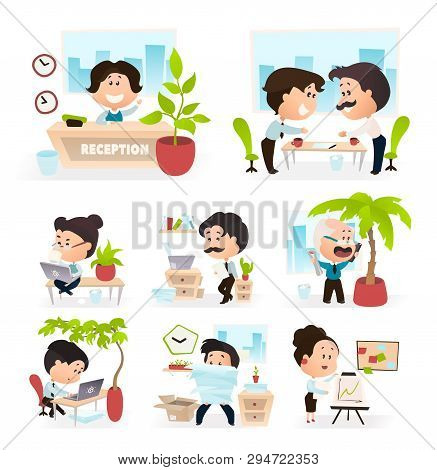 Scenes Of Office Life. Characters In Different Situations. Vector Illustration Of Flat Cartoon Clerk