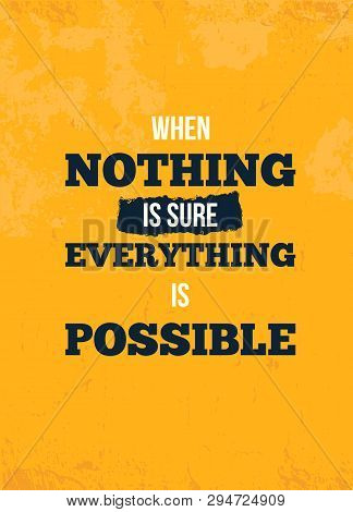 Everything Possible Quote. Motivational Wall Art On Yellow Background. Inspirational Poster, Success