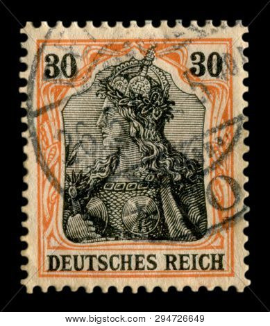 German Empire - 26 May 1909: German Historical Stamp: The Portrait Of The Valkyrie From The Epic Of